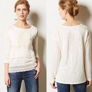 One September by Anthropology Cream Sweater